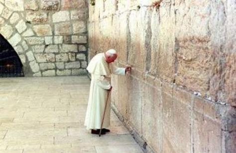 Blessed John Paul II praying at the Wailing Wall in Jerusalem