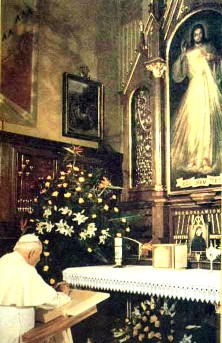 Pope John Paul II praying before an image of Jesus, the Divine Mercy