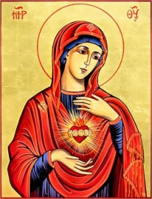 Icon of the Immaculate Heart in Byzantine style