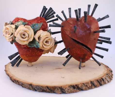 Alison Batley, Hears of Love, (back) ceramics, metal, and wood, 2012