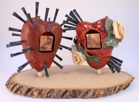 Alison Batley, Hears of Love, (front) ceramics, metal, and wood, 2012