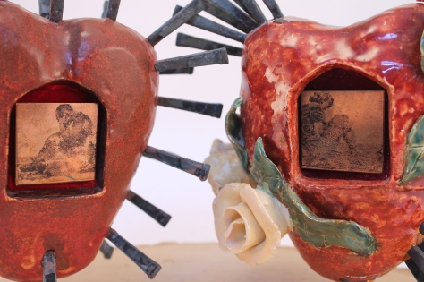 Alison Batley, Hears of Love, (detail) ceramics, metal, and wood, 2012